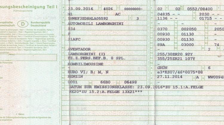 Fahrzeugschein Zulassungsbescheinigung Teil 1